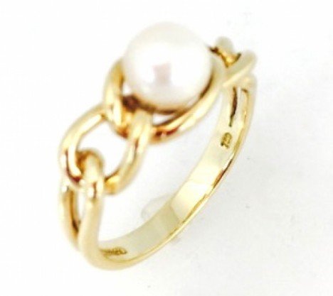 Rings Tiffany Amp Co Yellow Gold Chain Link Akoya Cultured